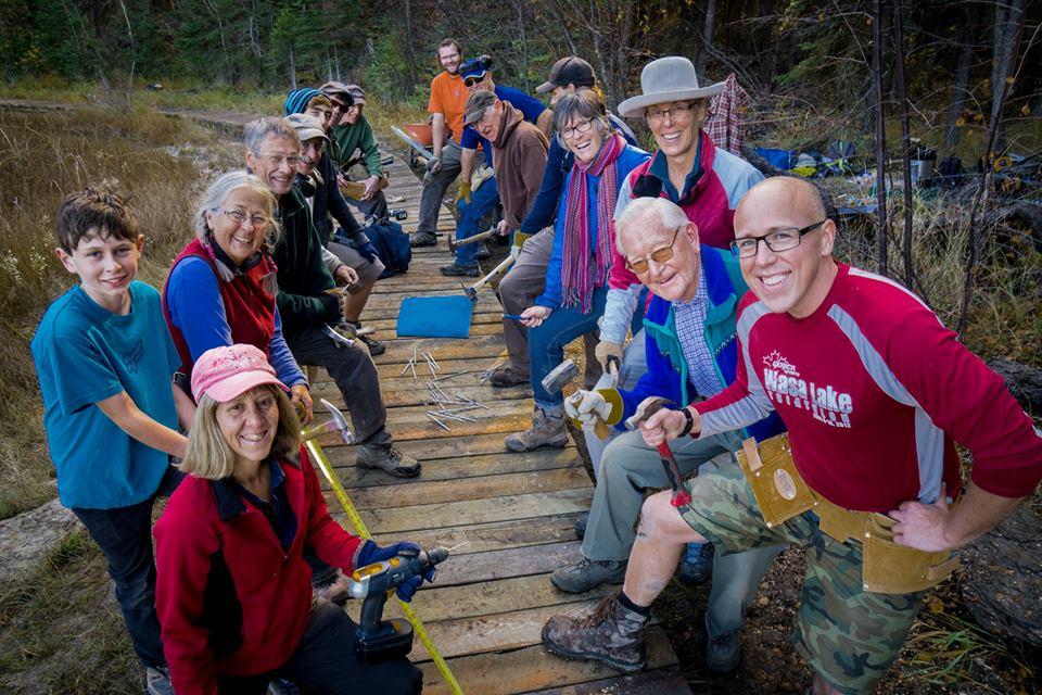 Volunteers at Lake Enid. Photo by Pat Morrow.