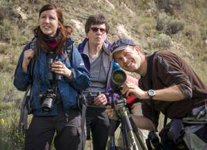 Karin and Brigit Schmid spotting birds with Eagle Eye Tours CEO Cam Gillies on Wilmer Wetlands.