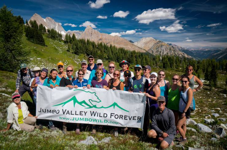 2016 East-West hike to Jumbo Pass,  (in Qatmuk, sacred valley of the grizzly bear spirit) by members of Wildsight, Jumbo Creek Conservation Society, Ktunaxa Nation and Keep Jumbo Wild supporters from both East and West Kootenays.